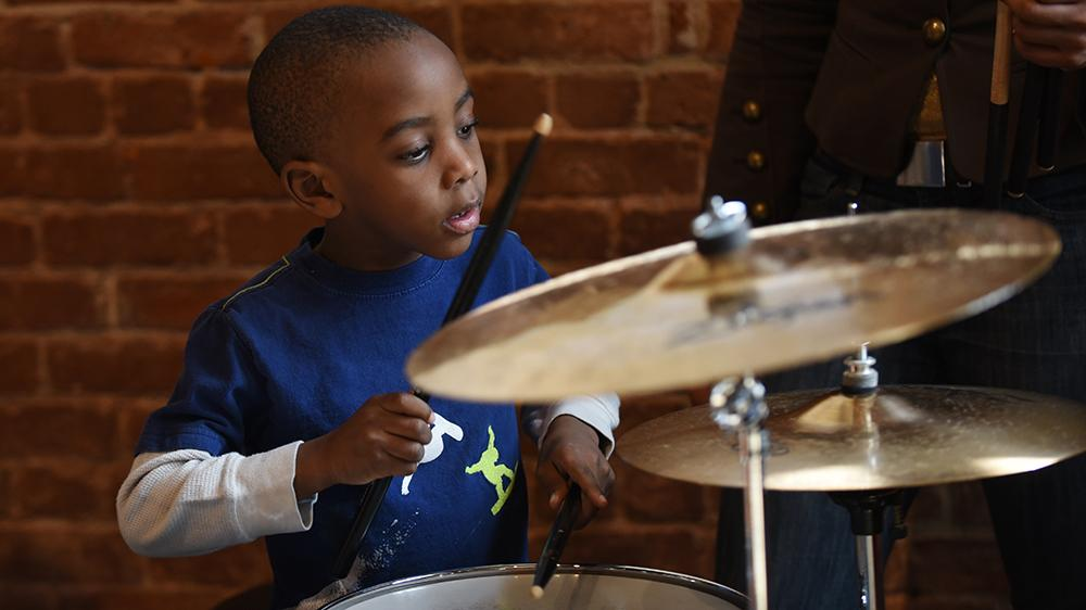 Craig Redmond offers a drum clinic and music workshop at the Paterson Museum on Saturday, Feb. 18, 2017.