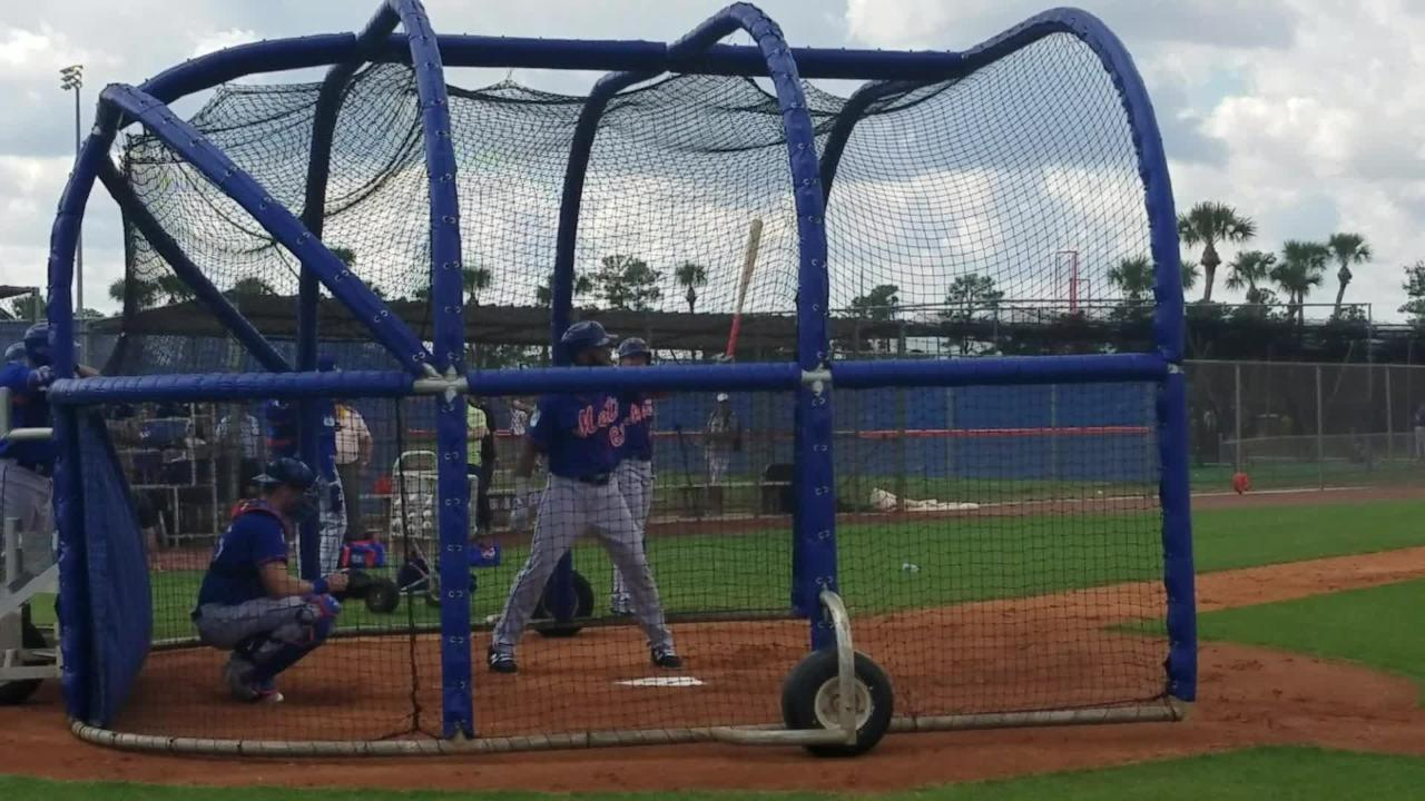 Top Mets prospect Amed Rosario takes batting practice Monday.