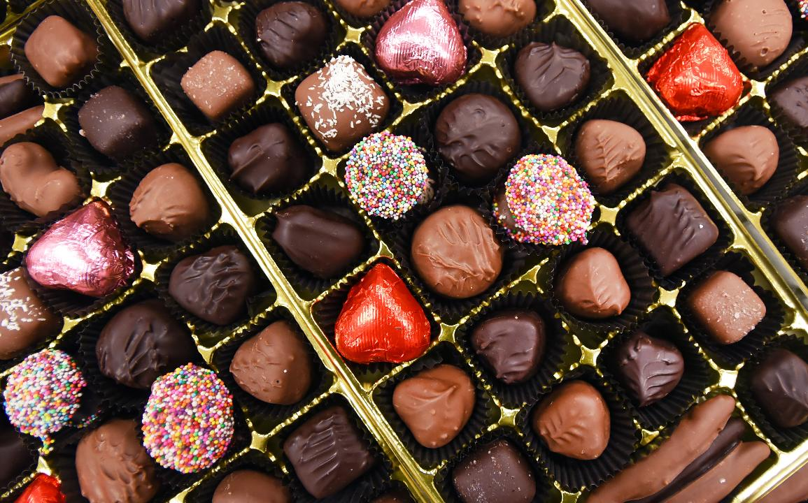 A large box of Valentine gift chocolate is seen at