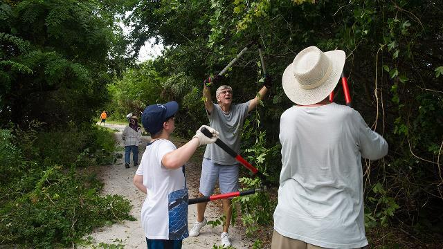 Volunteers maintain the trails at Lovers Key State Park