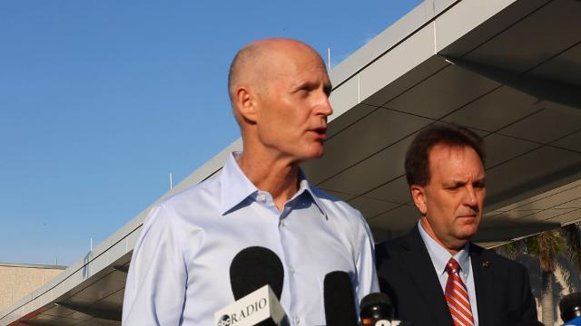 Fla. Governor Rick Scott speaks at the Fort Lauderdale - Hollywood International Airport