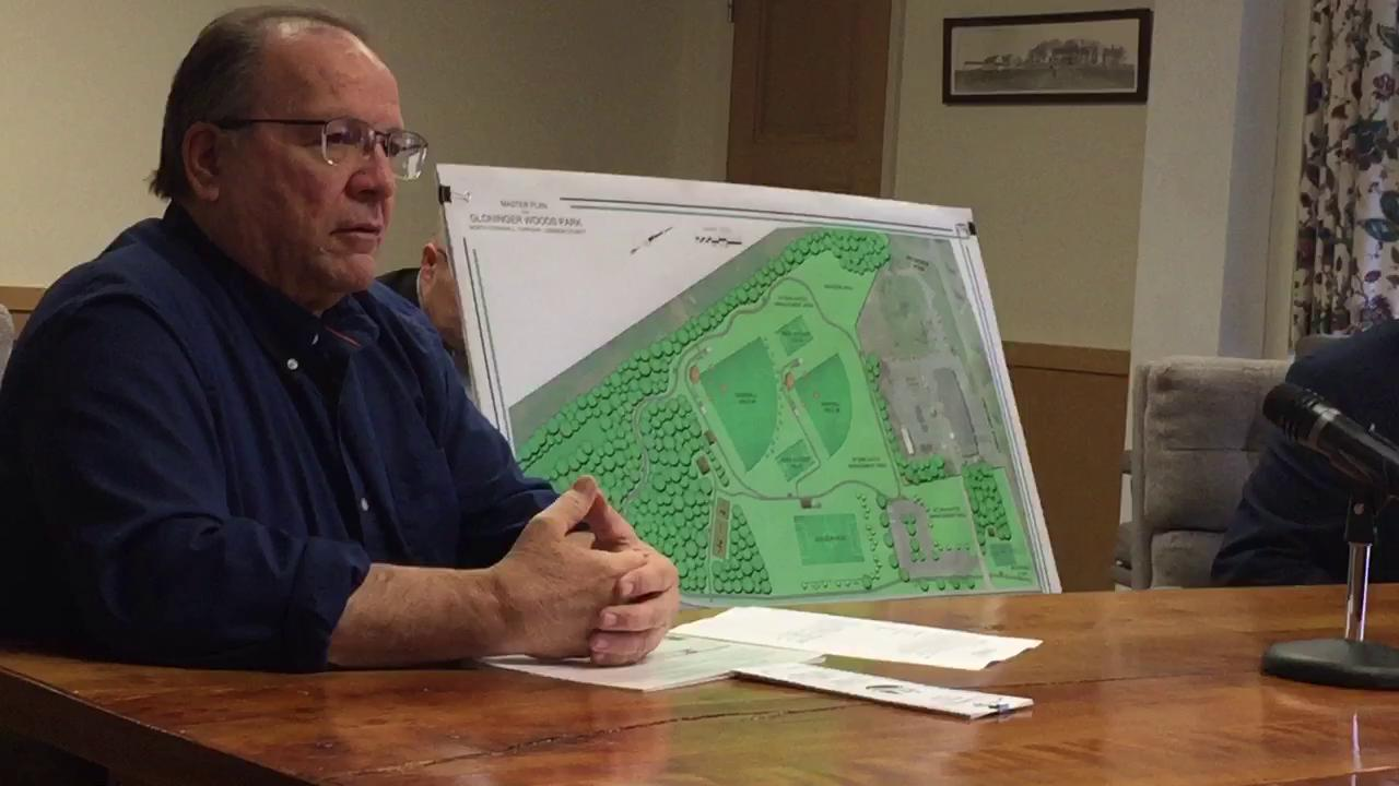 North Cornwall Township manager Tom Long tells the Lebanon County commissioners about the future plans for Glonginger Woods Park at 22nd and Chestnut streets.
