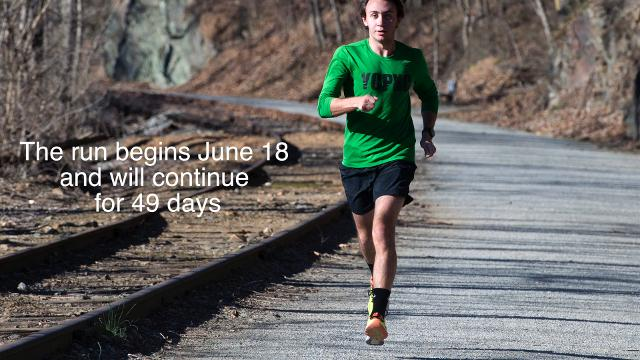 Gabriel Lloyd, a Dover Area High School graduate and York College student, will be part of a relay team that will run 4000 miles across the country to benefit cancer patients.