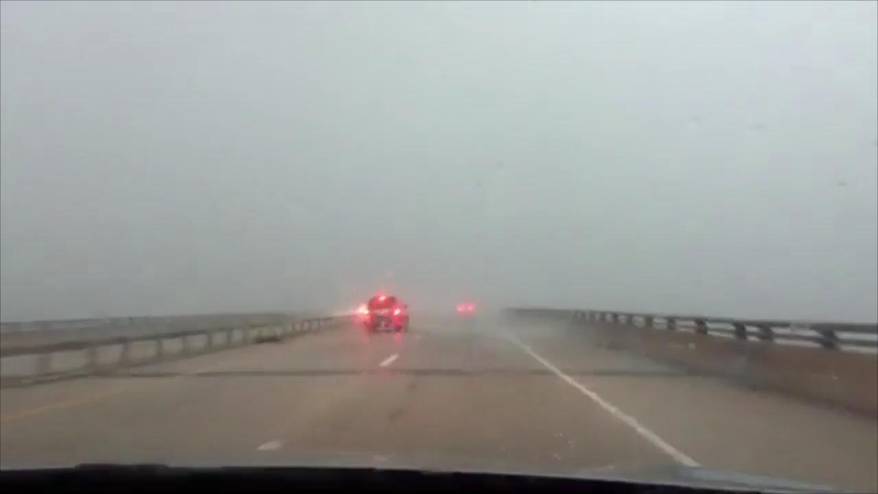 YDR journalists Gordon Rago and Jason Plotkin encounter a sudden sheet of driving wind and rain while driving west on U.S. 30 across the Susquehanna River.