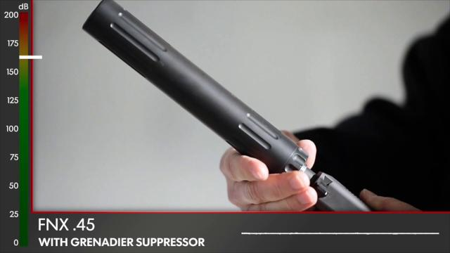 Scott Morris with Freedom Armory demonstrates how a silencer changes the sound of a gun shot from three different firearms.