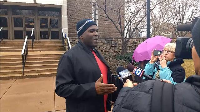 A rally was held in Annville Tuesday to oppose racism, in response to an incident that occurred Jan. 22 at Just Wing It in which a student was allegedly denied service because he is black.