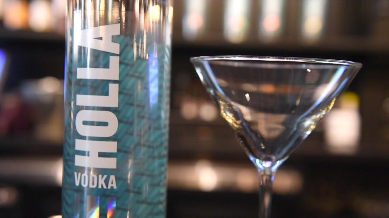 Lily the bartender from Rockfish Public House demonstrates how to make a Hollabite drink using Holla vodka.