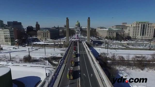 Watch: Aerial View of Lt. Dennis Devoe Procession in Harrisburg