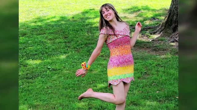 A local artist made this dress out of 10,000 Starburst wrappers
