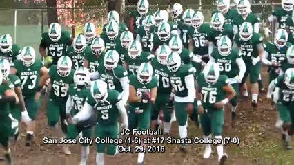 The No. 17 Shasta College football team hammered San Jose City College 57-14 on Oct. 29, 2016 to move to 8-0 and tie the program's longest winning streak at 12 games.