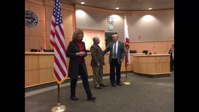 Mary Rickert and Steve Morgan are sworn in as Shasta County supervisors in Redding, Jan. 3, 2017.