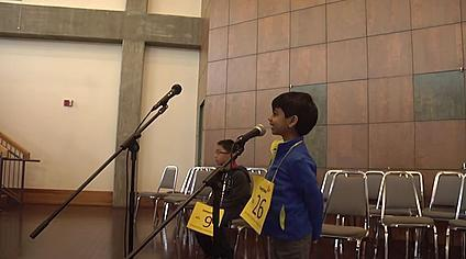 Final Round of the 2016 Standard-Times spelling bee with contestants Kasey Torres and Akash Vukoti.