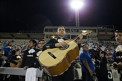 A halftime tribute to Veterans Memorial High School assistant band director Jesus Lopez was held during Moody High School's football game on Sept. 10, 2015.