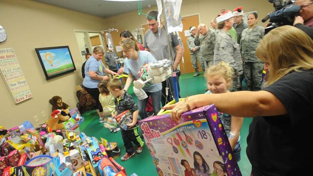 The Texas State Guard donated toys to children hospitalized at Hendrick Medical Center on Tuesday, Dec. 20, 2016.