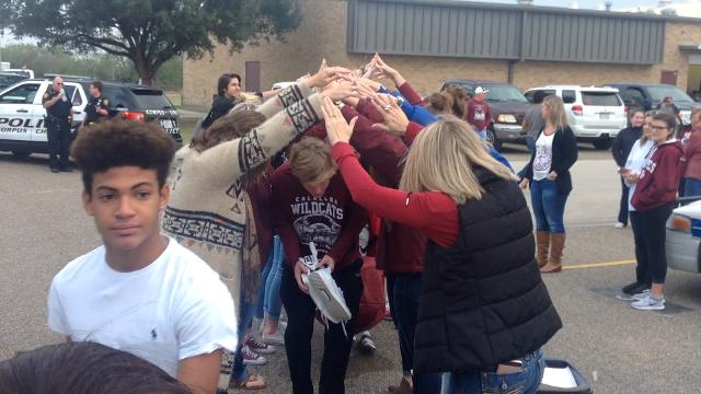 Students, staff and community sends off Calallen football team to state game in Arlington on Dec. 15, 2016.