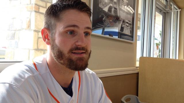 Astros' Tyler White talks about working hard this spring as he is part of a crowded group at the corner infield spot for the Astros.