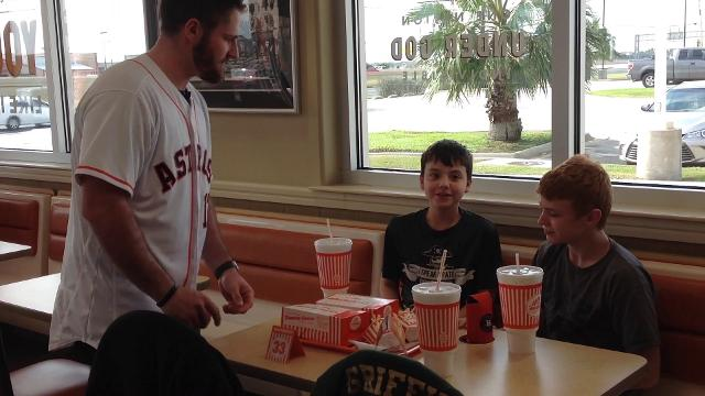 Houston Astros players Preston Tucker and Tyler White performed their Whataburger-ly duties on the Astros Caravan stop in Corpus Christi on Jan. 19, 2017.