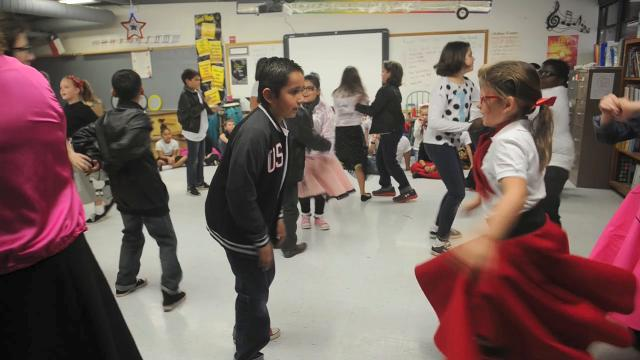 Students have fun with 50s Day at Austin Elementary.