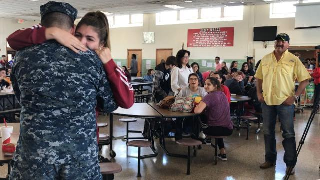 Navy airman, baby sister reunite after three years