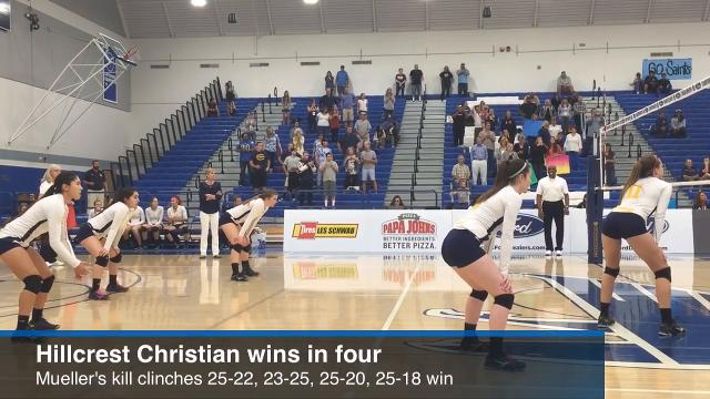 Senior outside hitter Kristen Mueller had 32 kills as the Hillcrest Christian girls volleyball team won the CIF-Southern Section Division 10 championship in four sets over Lake Arrowhead Christian on Nov. 12, 2016 at Cerritos College.