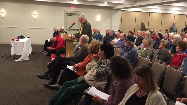 Thousand Oaks resident John Fonti was one of many speakers on Tuesday night to oppose a proposed three-year, 30.1 percent rate hike by California American Water.