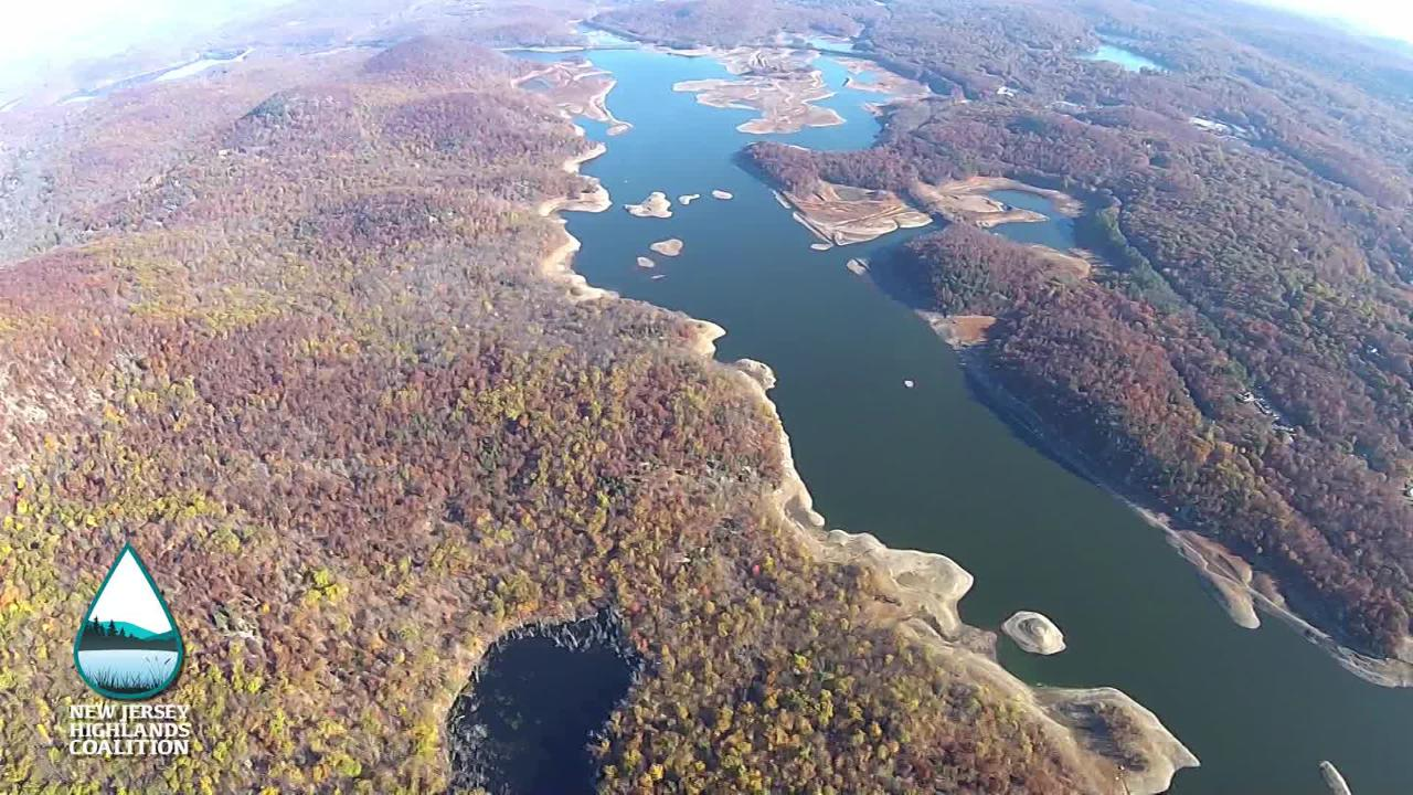 Aerial footage of Wanaque Reservoir in North Jersey, one of several major waterbodies environmentalists say will be threatened by increased septic development.