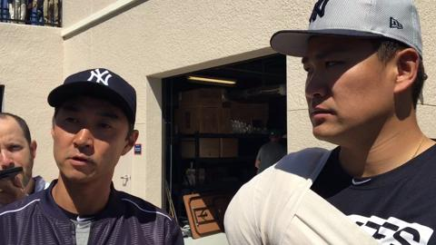 Yankees Masahiro Tanaka speaks after his latest scoreless outing for Yankees in spring training.