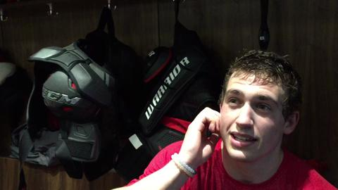 The Devils rookie left wing discusses his one-game absence and facing the Rangers tonight.