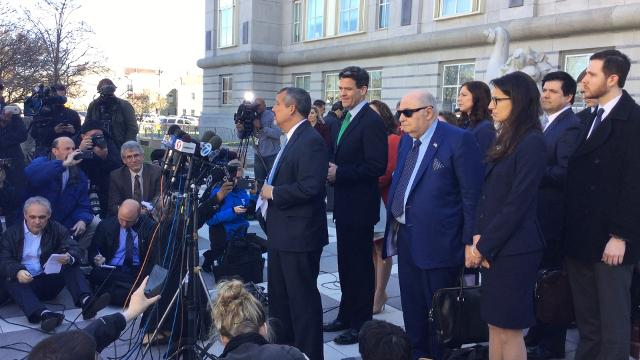 A spokesman for Bill Baroni explains that the former Port Authority executive had no comment after being sentences to two years in prison for his role in the Bridgegate scandal in US District Court in Newark on Wednesday.