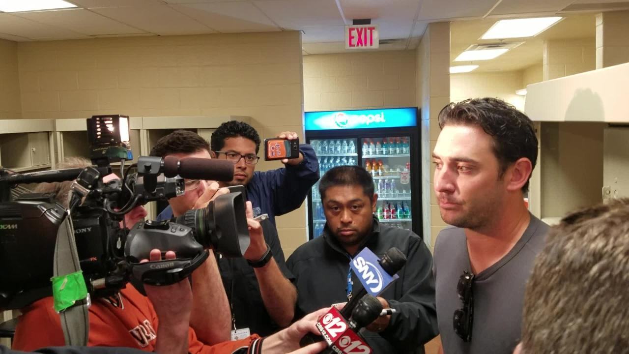 Matt Harvey speaks to reporters after facing Miami.