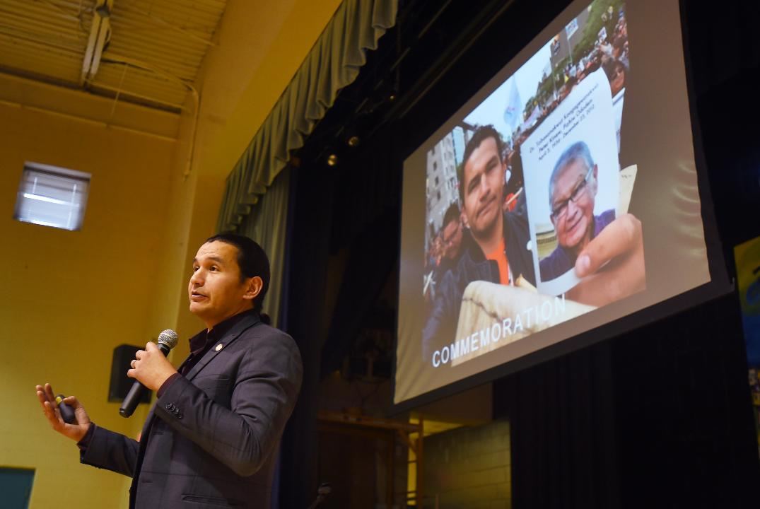 """About 250 4th through 8th-grade students at the Solomon Schechter Day School of Bergen County, a private Jewish school, assembledto listen toWab Kinew,a member of anindigenous tribe in Canada, as he divulgeda """"dark secret"""" of his nation's past."""