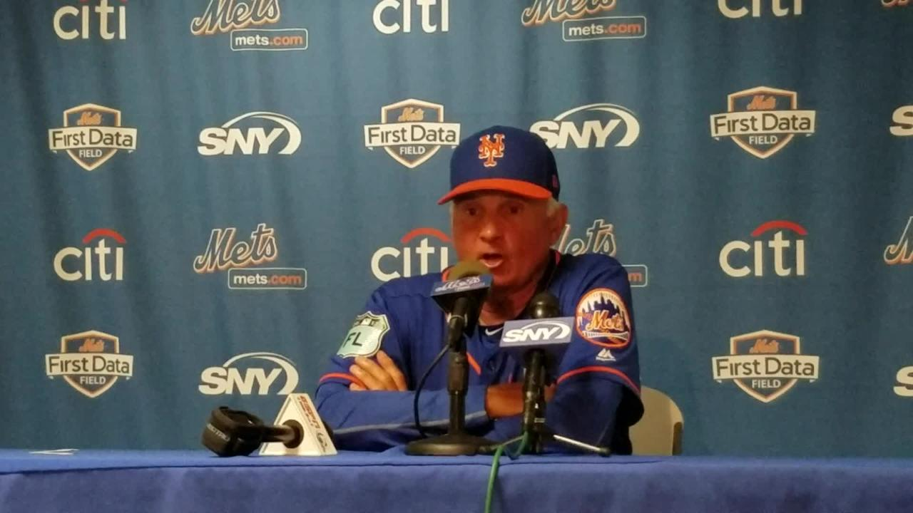 Terry Collins discusses Tim Tebow's first hit of camp.