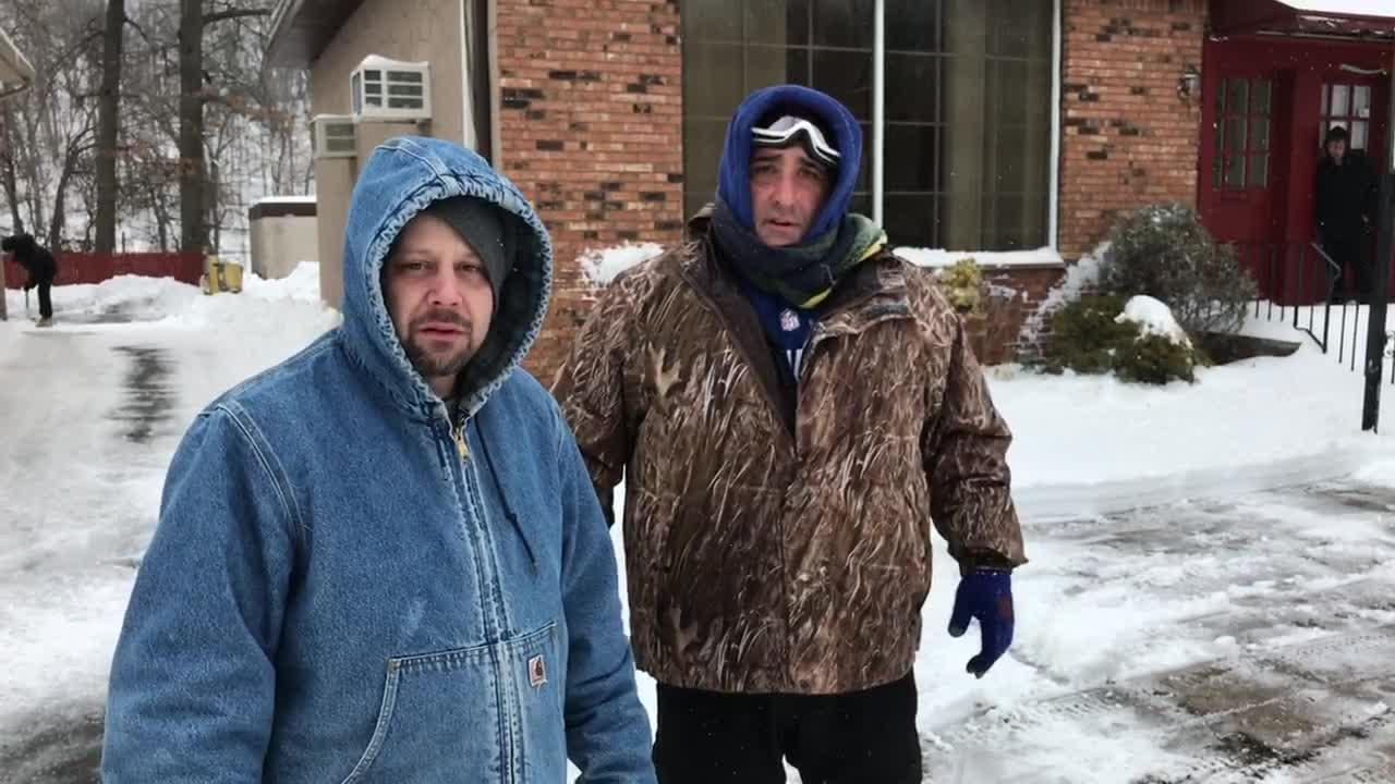 Anthony DeProspo and Alessandro Colangelo were shoveling out seniors on McBride Ave. in Woodland Park, N.J. during the snow storm on Tuesday, March 14, 2017. Video by Rich Cowen.