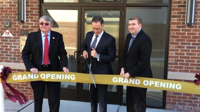 Verona officials celebrate the opening of the Verona Place apartments March 22, 2017.