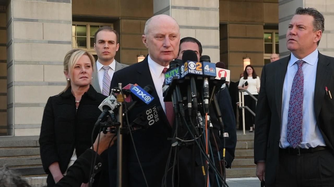 """Attorney Michael Critchley and his client Bridget Anne Kelly, who was sentenced to 18 months in prison for her involvement in the """"Bridgegate"""" scandal, speak outside of federal court in Newark, NJ on Wednesday, March 29, 2017."""