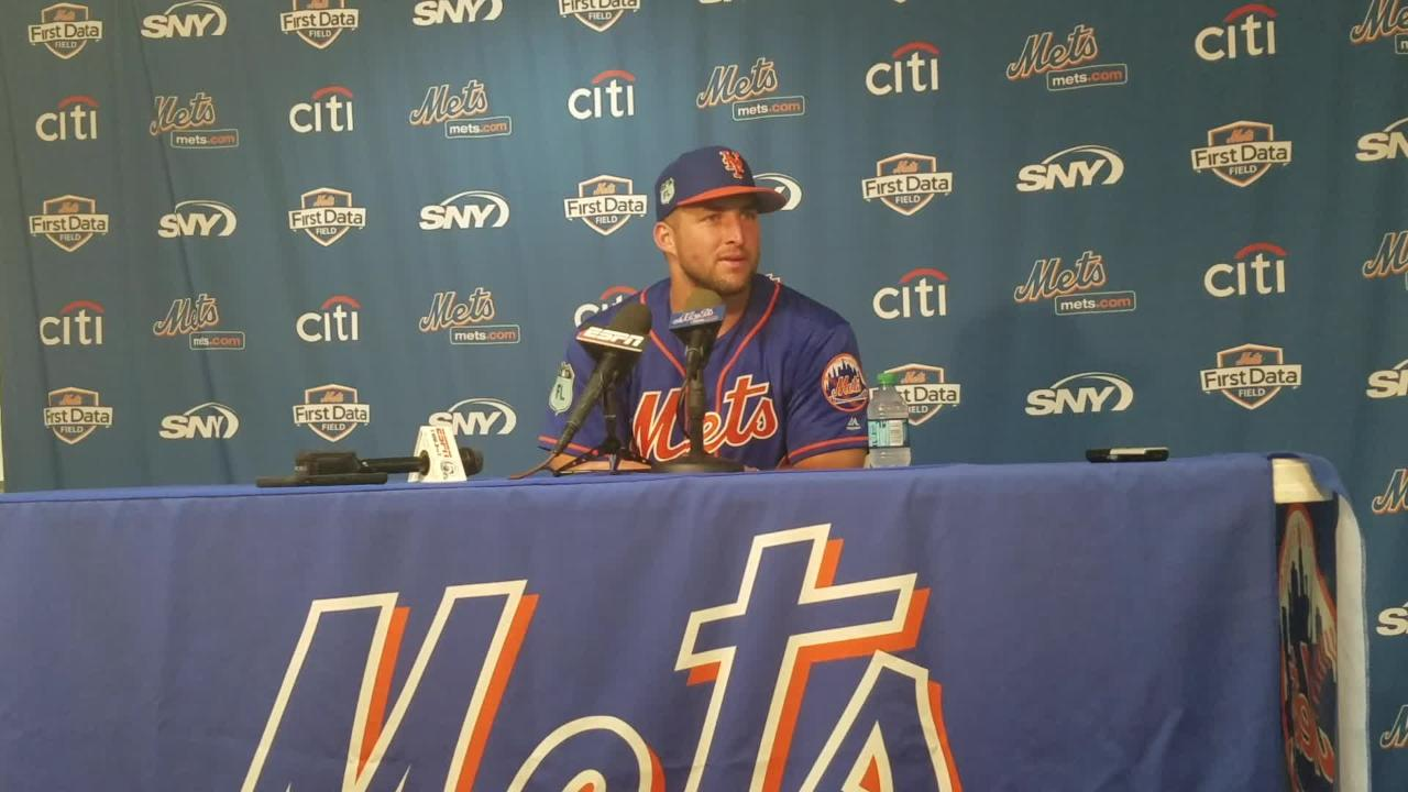Tim Tebow discusses his 0-for-4 day.