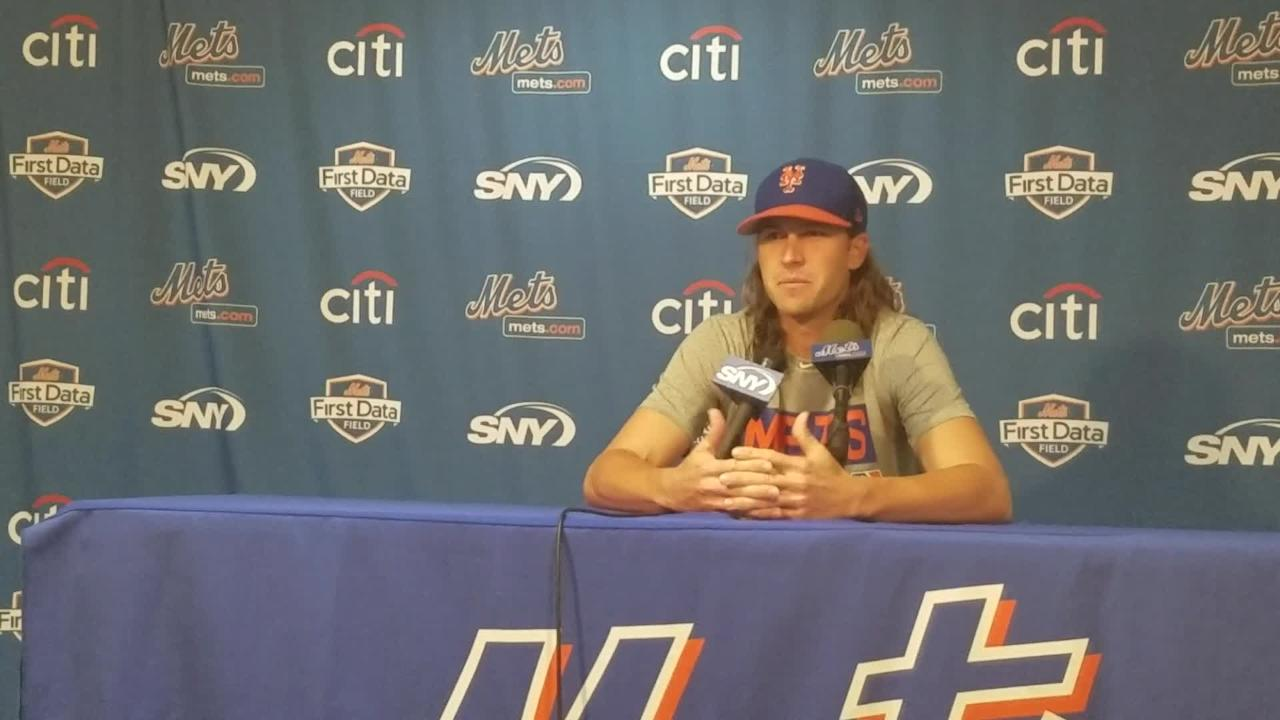 Jacob deGrom discusses his outing Thursday.