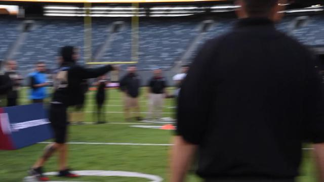 The Dunkin' Donuts 'Catch of a Lifetime' winning team, Van Cortlandt Titans, participated in a clinic with Odell Beckham Jr. at Metlife Stadium in East Rutherford.