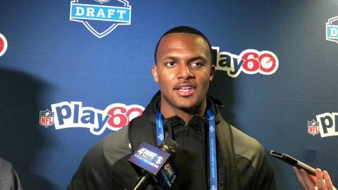 Clemson QB prospect Deshaun Watson on his private workout with the Jets. Watson spoke at an NFL Play 60 charity event in Philadelphia on Wednesday, the day before the NFL Draft.