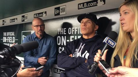 Girardi talks about playing Aaron Hicks over Brett Gardner today, the outfield alignment and Greg Bird's progress at the plate.