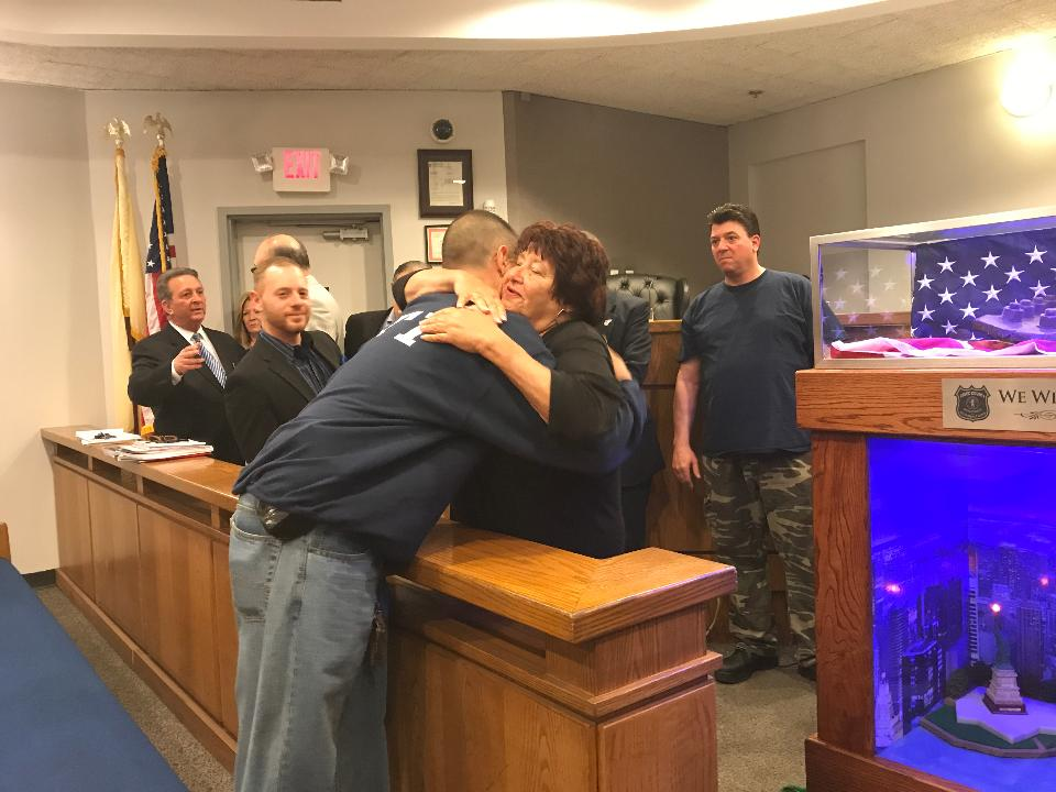 Members of the Essex County Corrections Department's Second Chance program on Tuesday, April 25, presented the Belleville Township Council with a memorial to those killed in the 9/11 terrorist attacks. Matt Kadosh/NorthJersey.com
