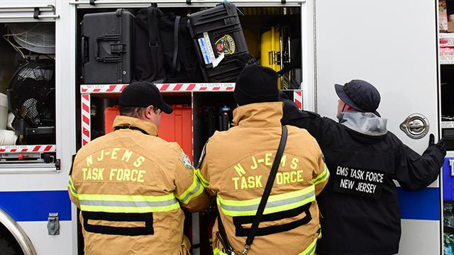 Emergency personnel from four states conduct an exercise to bringing together a large number of ambulances to coordinate in case of a mass casualty event.