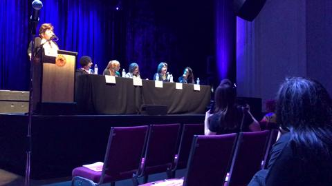 Radio show host Joan Herrmann and MFEE Executive Director Masiel Rodriquez-Vars suggest one way women can empower themselves and others at a forum in Montclair on April 4, part of Women's Empowerment Week.