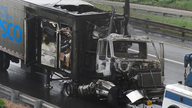 An early morning crash on the NJ Turnpike caused huge delays northbound Thursday morning. One of the tractor trailers was seen burned out as it was towed from the highway.