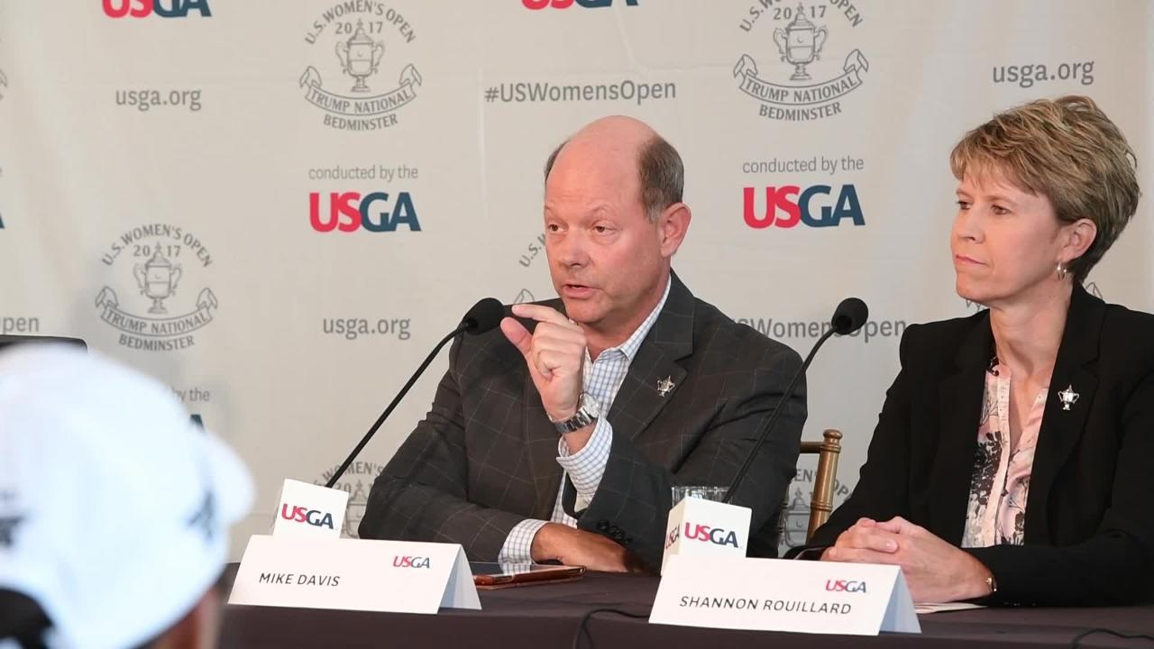 Mike Davis, executive director/CEO of the United States Golf Association (USGA) answers a question on what kind of message he thinks  President Donald Trump's past comments on women sends to young women golfers.