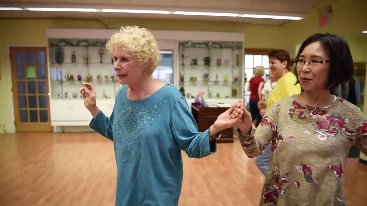 Senior citizens folk dance to an array of music at the Tenafly Senior Center last Thursday.