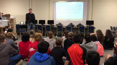 New York Times bestselling author Wil Mara visits Lakeside Middle School in Pompton Lakes where he shares lessons and writing techniques developed from penning over 200 books.