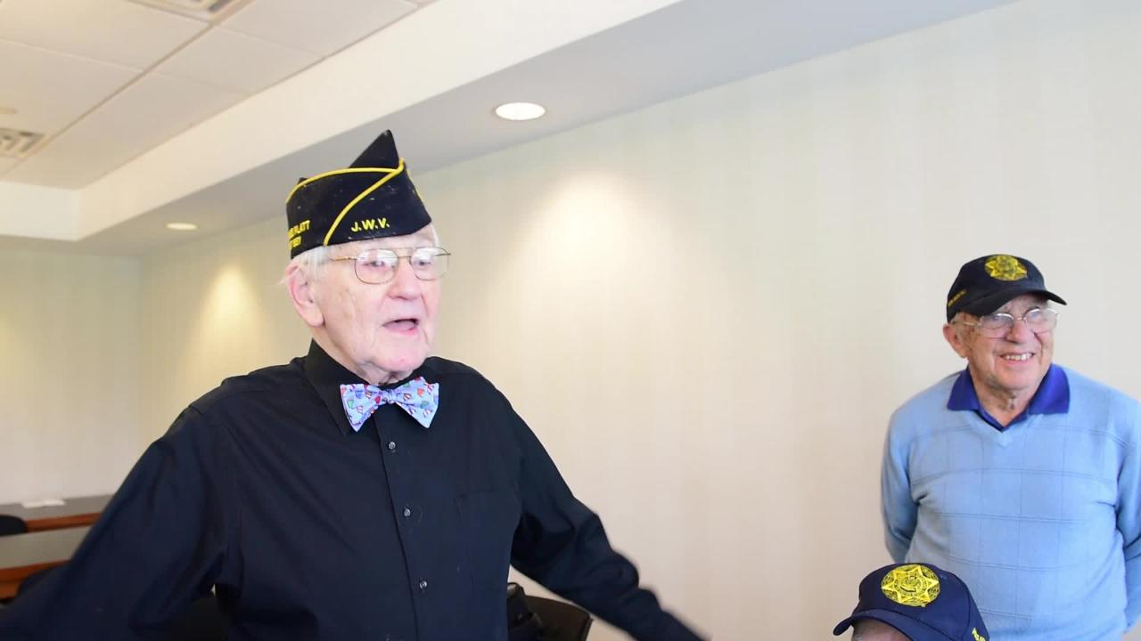 Sig Westerman, 95, of Fair Lawn, sings a war jingle for his friends. Westerman and other members of the Jewish War Veterans organization will march in the Fair Lawn Memorial Day Parade.