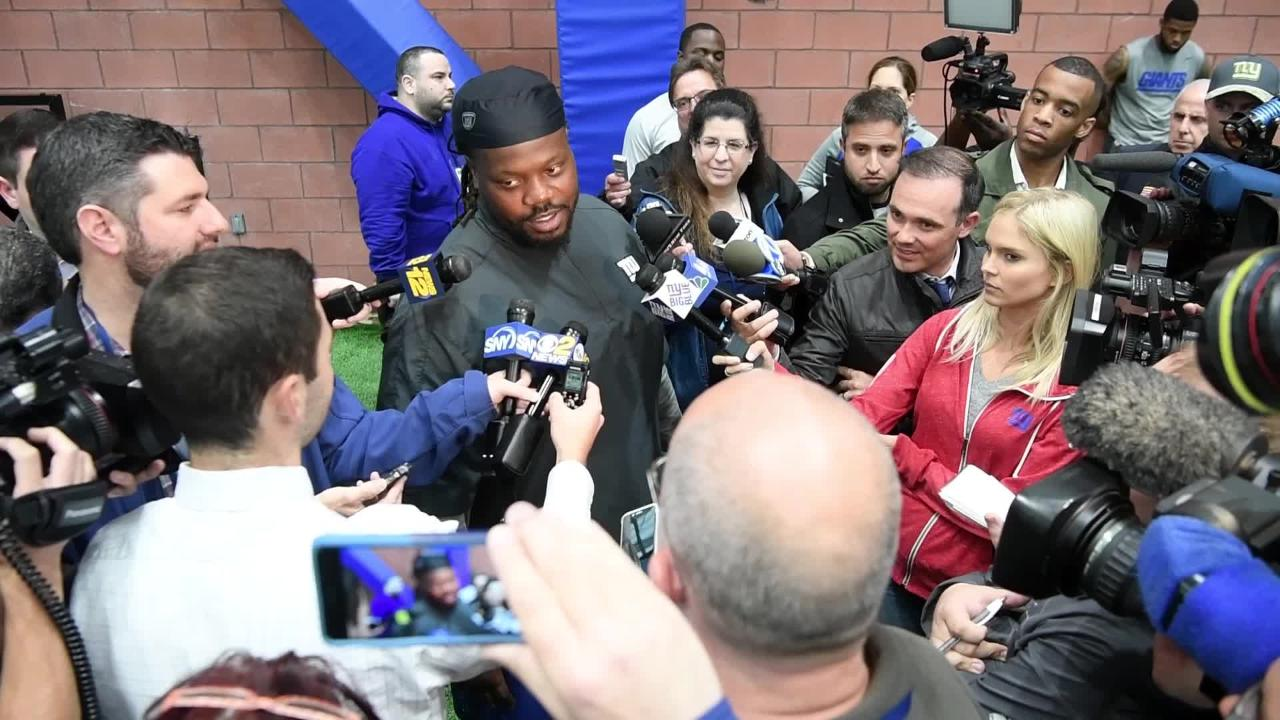 """New York Giant Damon """"Snacks"""" Harrison answers Northjersey.com's Tara Sullivan's question on how Brandon Marshall is fitting in with the team, as well as jokes about former Jet teammate Sheldon Richardson talking to the media."""
