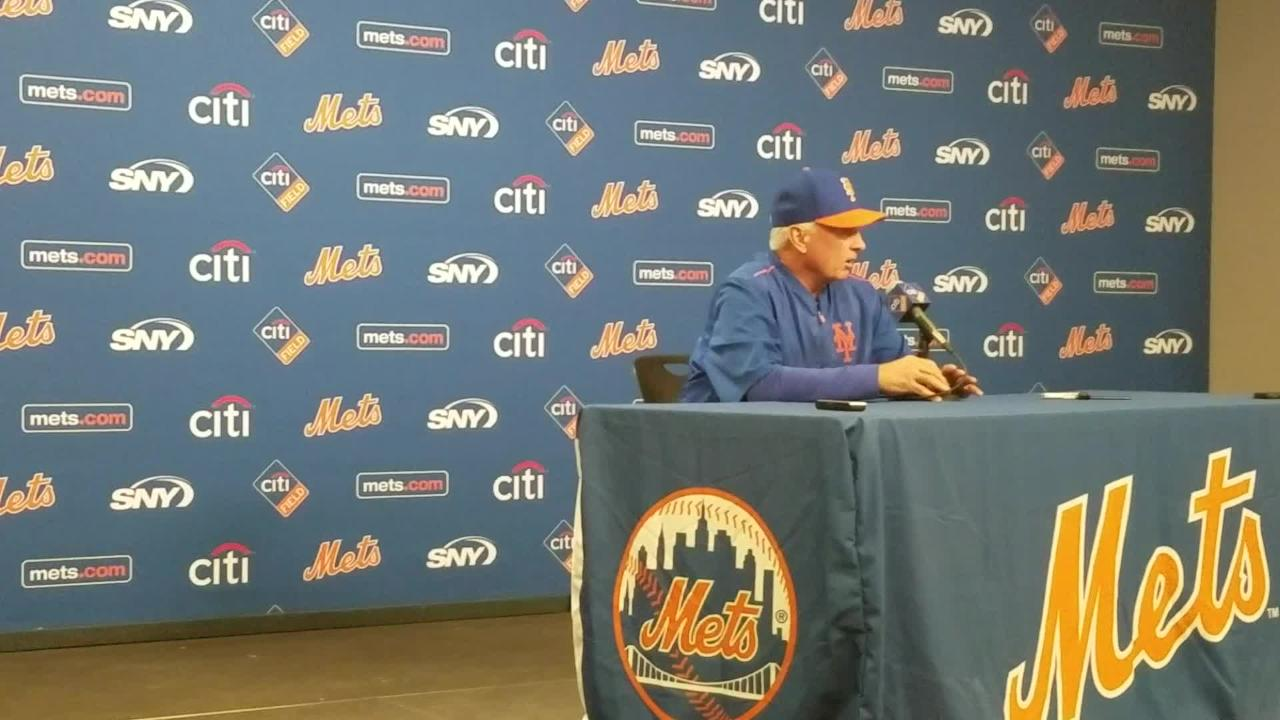 Mets manager Terry Collins talks Tuesday, May 23, about the team sending down reliever Hansel Robles.